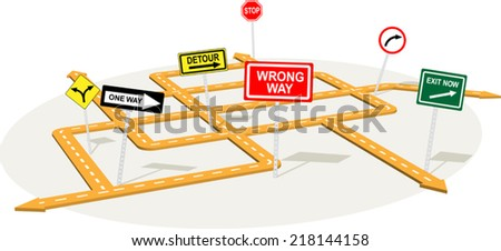 3D road junction with warning traffic signs  - stock vector
