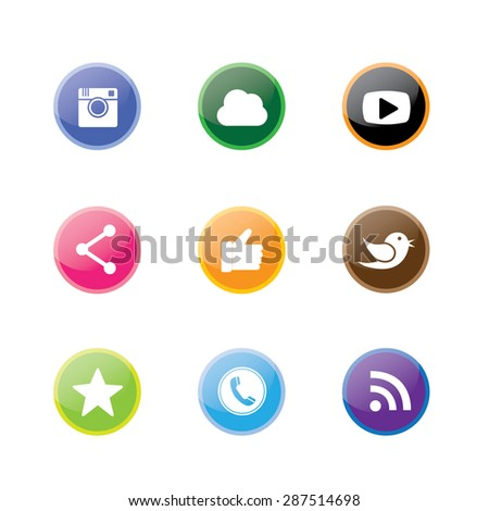 3d round & circle button designs of camera, like, messenger bird, phone receiver, share - social network vector icons. This also represents rss, cloud computing, playing video - stock vector
