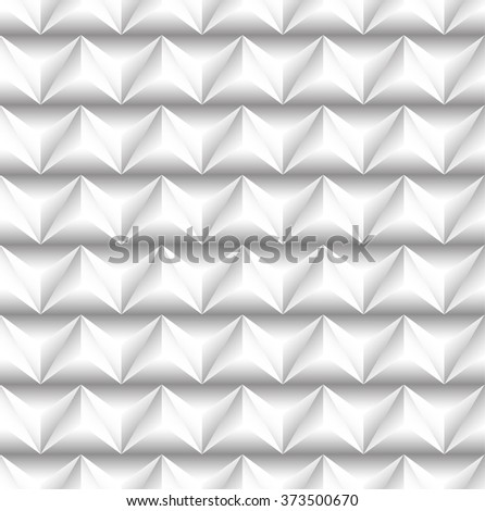 3d seamless pattern with alternating embossed triangles - Grayscale color - stock vector