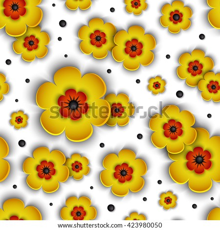 3d seamless pattern with voluminous orange and yellow flowers on a white substrate. Beautiful floral vector background. Hand-drawn design elements. Abstract form for your project.  - stock vector