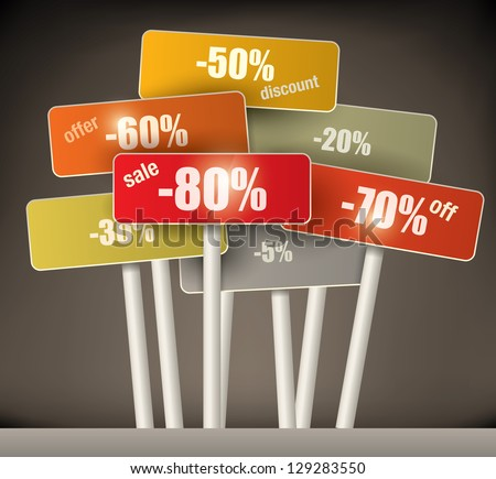 3d selection of multicolored discount signs on poles with a variety of different percentages grouped together on a graduated brown background - stock vector