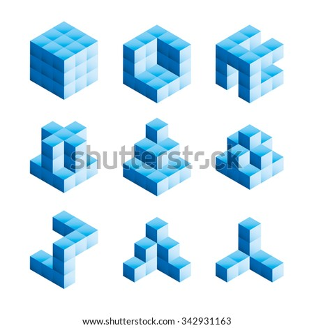 3D shapes created from building blocks