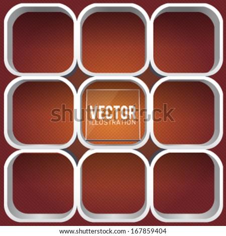 3D shelves design on background - stock vector