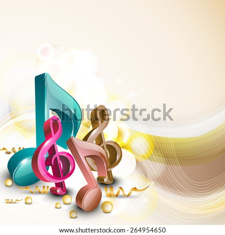 3D shiny colorful musical notes on abstract background. - stock vector