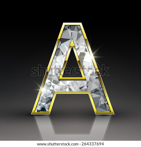 3d shiny diamond letter A isolated on black background - stock vector