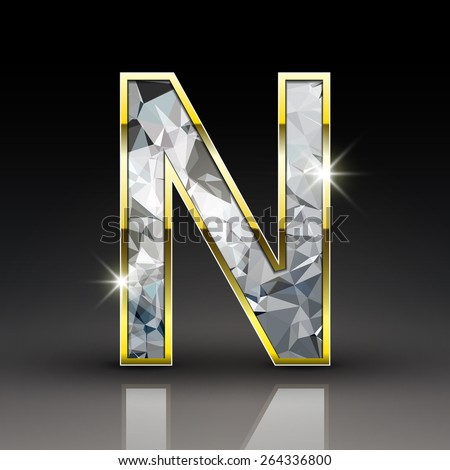 3d shiny diamond letter N isolated on black background ...