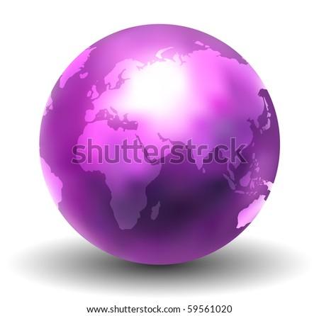 3D Shiny Earth Globe (Vector) - stock vector
