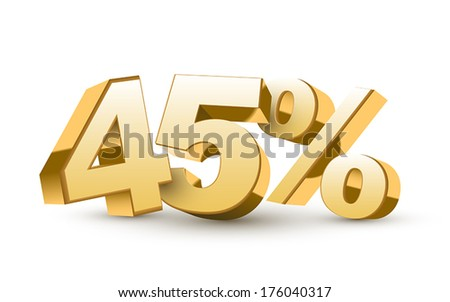 3d shiny golden discount collection - 45 percent isolated white background