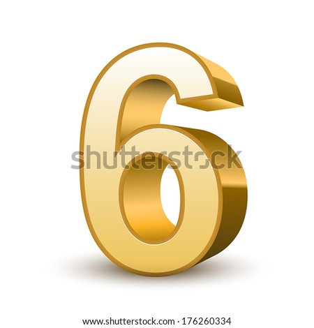 3d shiny golden number 6 on white background