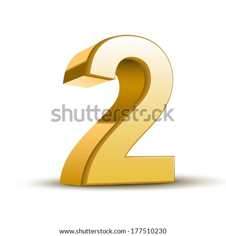 3d shiny golden number 2 on white background - stock vector