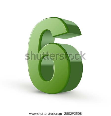 3d shiny green number 6 isolated on white background - stock vector