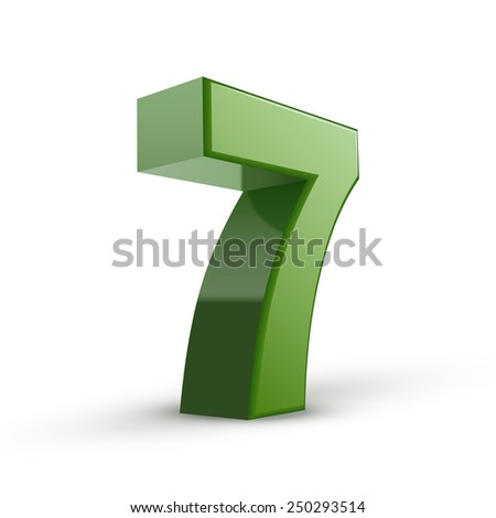 3d shiny green number 7 isolated on white background