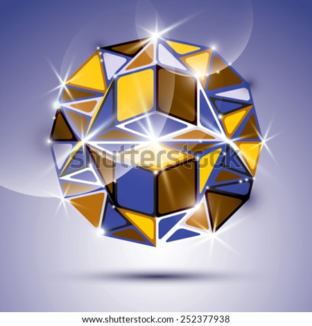 3D shiny mirror ball isolated on violet background. Vector fractal dazzling abstract illustration - eps10 jewel. Gala theme. Fantastic kaleidoscope object with geometric figures. - stock vector