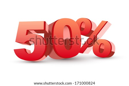 3d shiny red discount collection - 50 percent isolated white background - stock vector