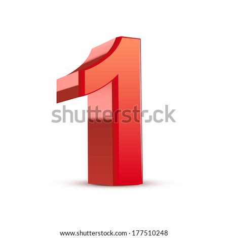 3d shiny red number 1 on white background