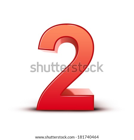 3d shiny red number 2 on white background - stock vector