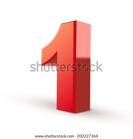 3d shiny red number 1 on white background - stock vector
