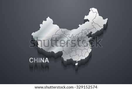 3D Shiny Silver China Map