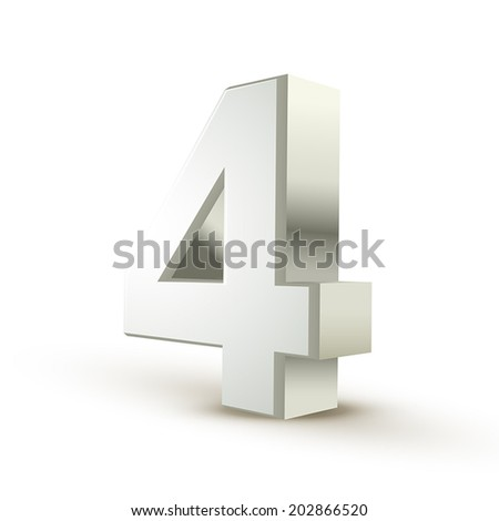 3d shiny silver number 4 on white background - stock vector