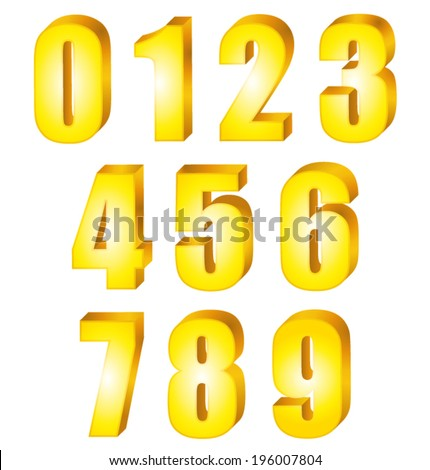 3D Shiny yellow gold numbers. Vector set. - stock vector