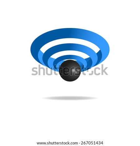 3D sign wi-fi, sound wave icon, wireless technology logo - stock vector