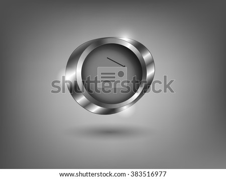 3d silver button on gray background