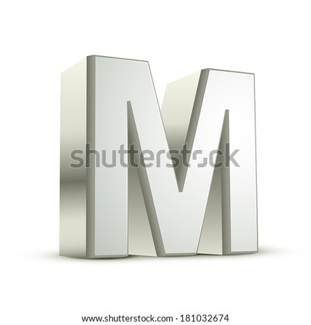 3d silver letter M isolated white background - stock vector