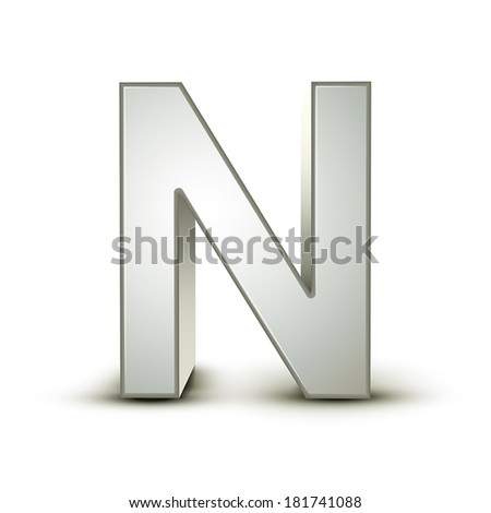3d silver letter N isolated white background - stock vector