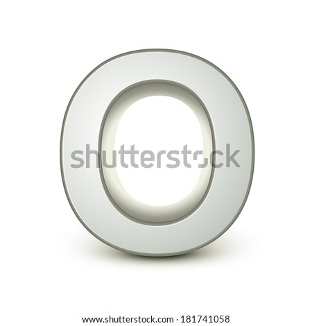 3d silver letter O isolated white background - stock vector