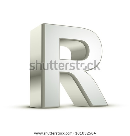 3d silver letter R isolated white background - stock vector