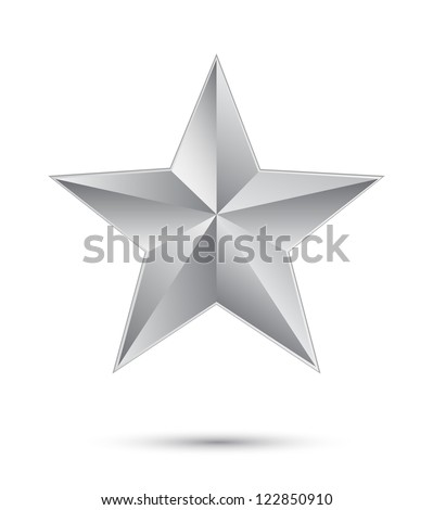 3D silver star on white - stock vector