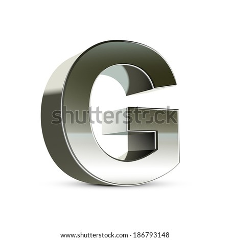 3d silver steel letter G isolated white background - stock vector