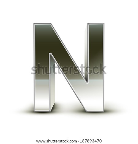 3d silver steel letter N isolated white background - stock vector