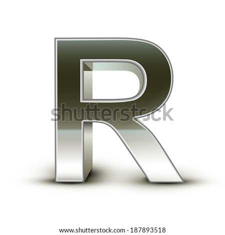 3d silver steel letter R isolated white background - stock vector