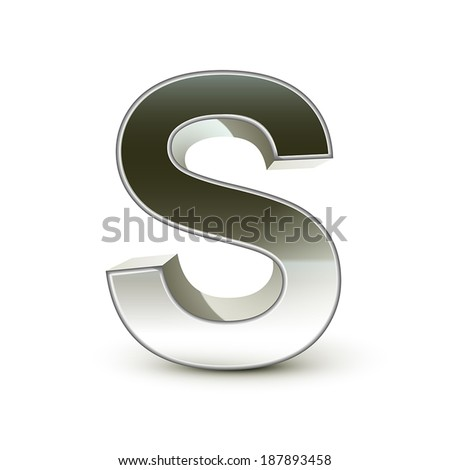 3d silver steel letter S isolated white background - stock vector