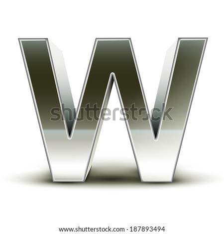 3d silver steel letter W isolated white background - stock vector