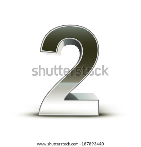 3d silver steel number 2 isolated white background - stock vector