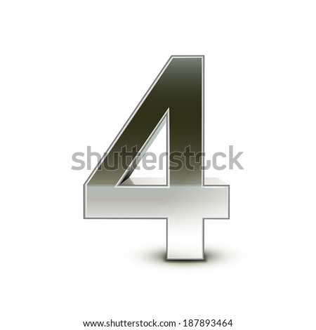 3d silver steel number 4 isolated white background - stock vector