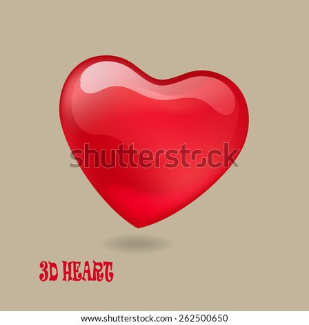 3D Single Heart Icon, Logo and Concept. - stock vector