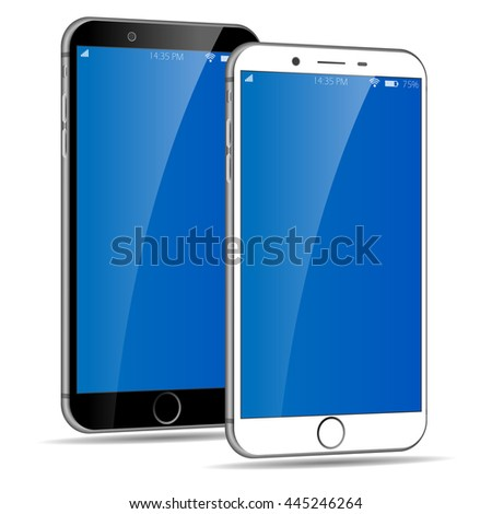 3D smartphone mobile phone isolated on white background. White and black Cell phone isolated. Iphone style smartphone. Cellphone. Vector eps 10 illustration. Set of smartphones. - stock vector