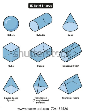 3d Solid Shapes Collection 9 Different Stock Vector HD (Royalty Free ...