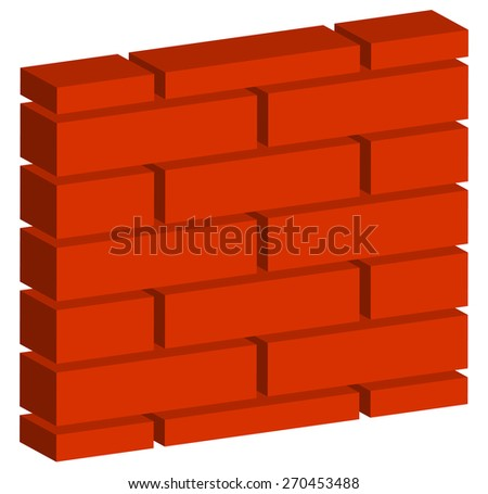 3D, Spatial Brick wall, brickwork with regular pattern isolated on white. Editable vector - stock vector
