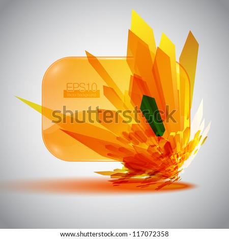 3D speech bubble with an orange detonation. - stock vector