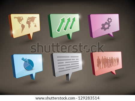 3d speech bubbles with different illustrations and design elements in perspective - stock vector