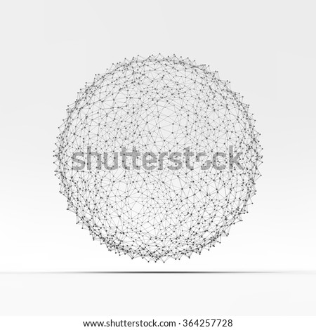 3d Sphere. Global Digital Connections. Technology Concept. Vector Illustration.