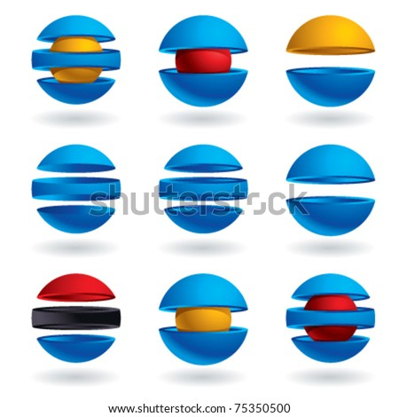 3d sphere vector icons set. - stock vector