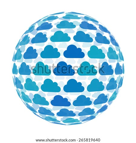 3d sphere with cloud pattern vector background, isolated - stock vector