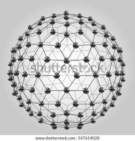 3D sphere with global line connections. Wireframe polygonal mesh shape.