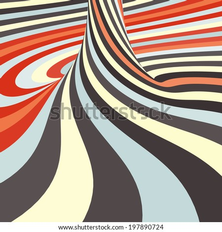 3d spiral abstract background. Optical Art. Vector illustration.  - stock vector