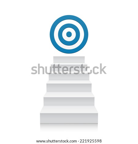 3d stairs with blue target icon isolated on white background. Steps. Vector illustration - stock vector